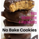 a Pinterest pin with a stack of no bake peanut butter cookies