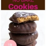 a stack of chocolate covered peanut butter cookies
