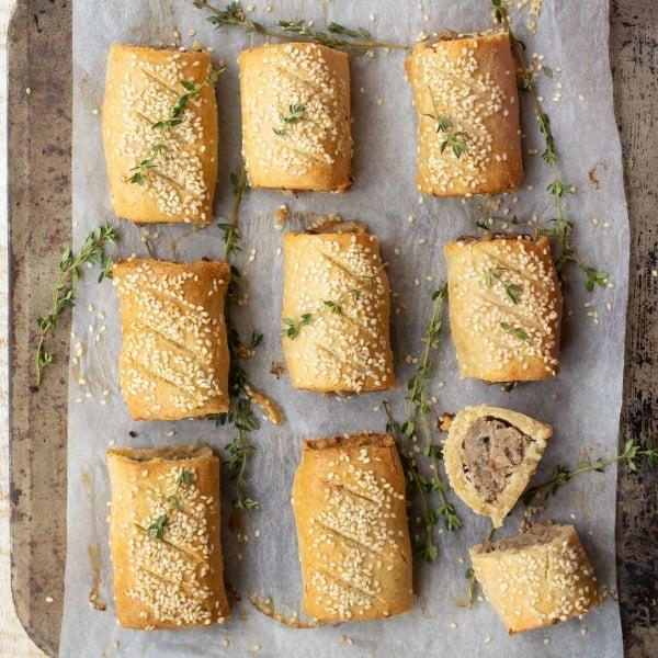 sausage rolls on a baking sheet