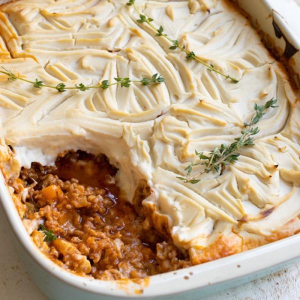 shepherd's pie topped with cauliflower mash