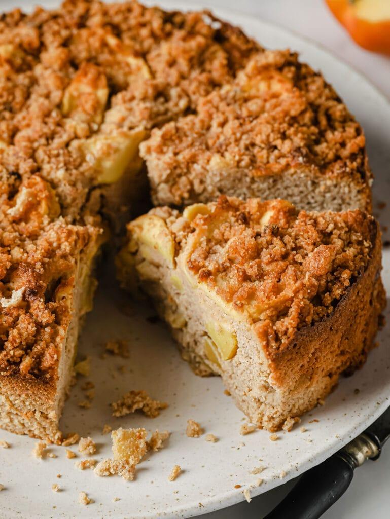 apple cake on a platter