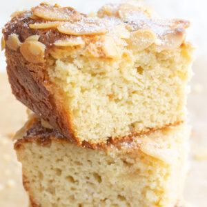 a stack of keto cake squares