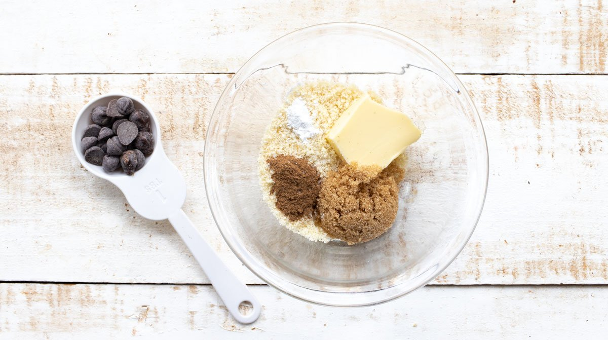 ingredients for a keto microwave cookie