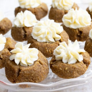 moise Keto Pumpkin Cookies with piped cream cheese frosting