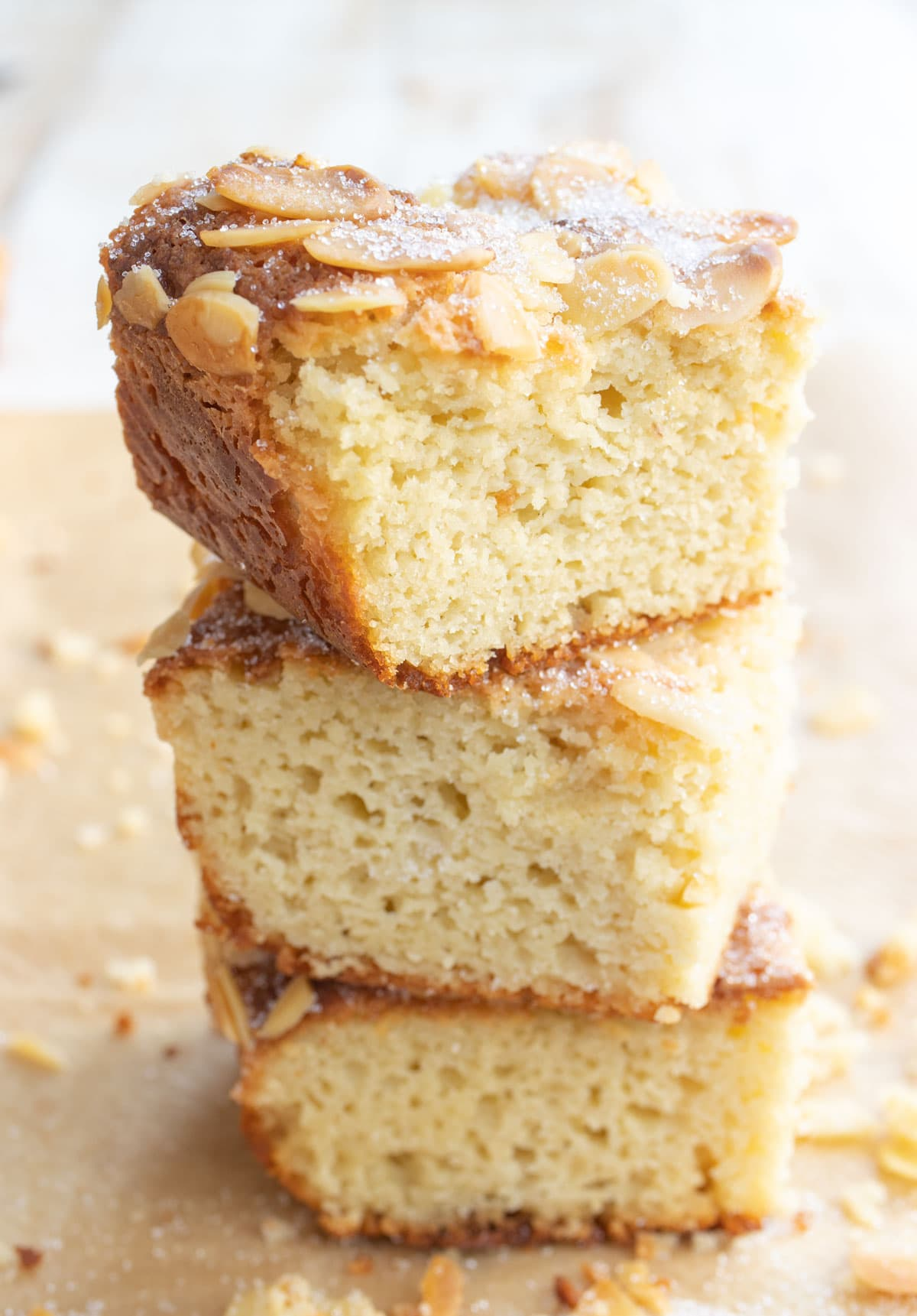a stack of keto butter cake squares