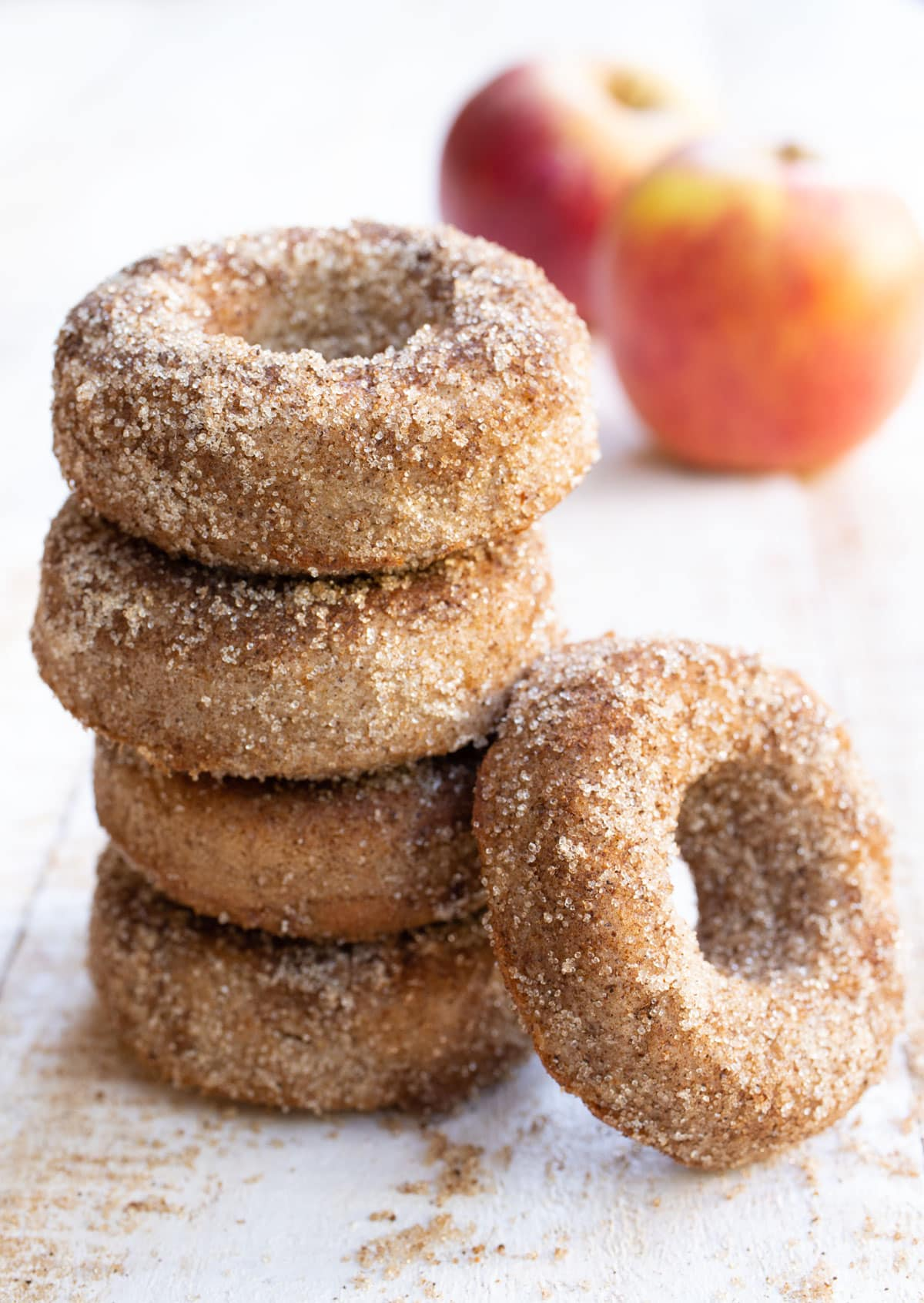 a stack of keto apple cider donuts